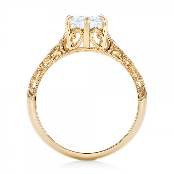 Solitaire Diamond and Yellow Gold Engagement Ring - Finger Through View