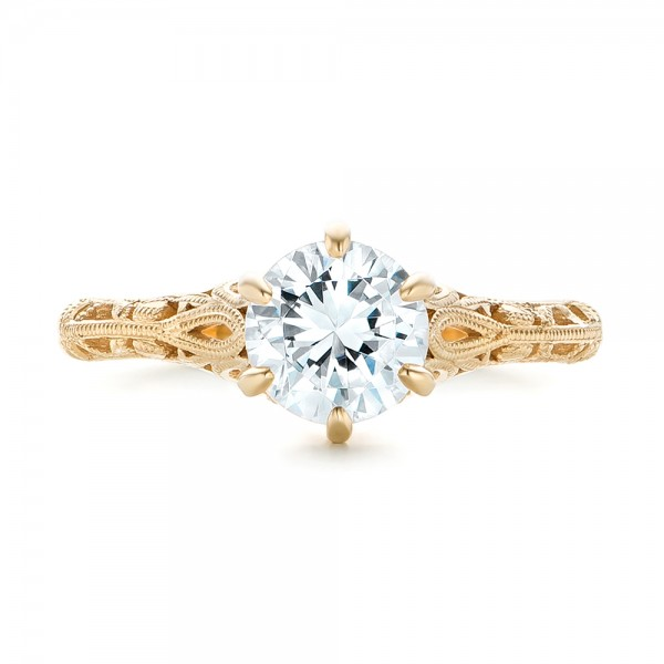 Solitaire Diamond and Yellow Gold Engagement Ring - Top View