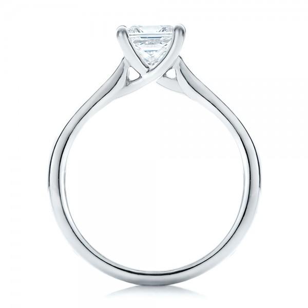 Custom Princess Cut Solitaire Engagement Ring - Finger Through View