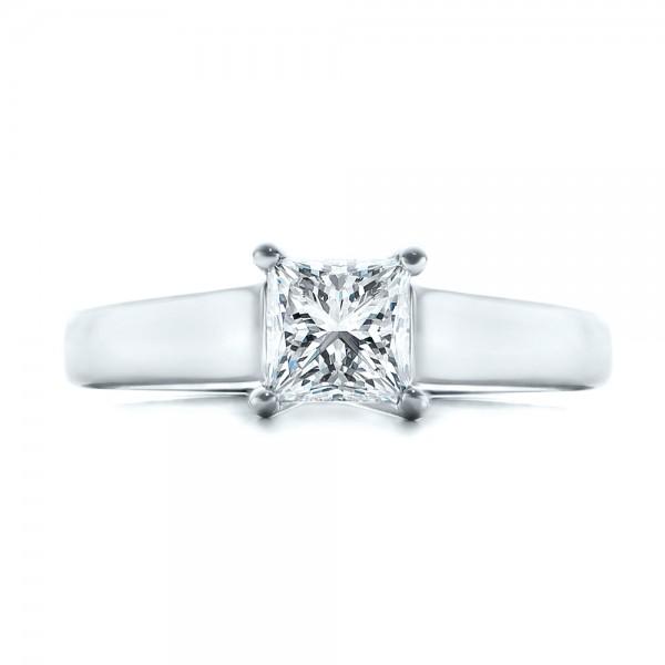 Custom Princess Cut Solitaire Engagement Ring - Top View