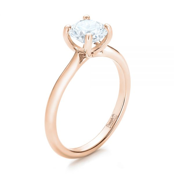 18k Rose Gold 18k Rose Gold Custom Solitaire Engagement Ring With Tapered Shank - Three-Quarter View -