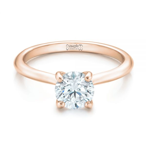 18k Rose Gold 18k Rose Gold Custom Solitaire Engagement Ring With Tapered Shank - Flat View -