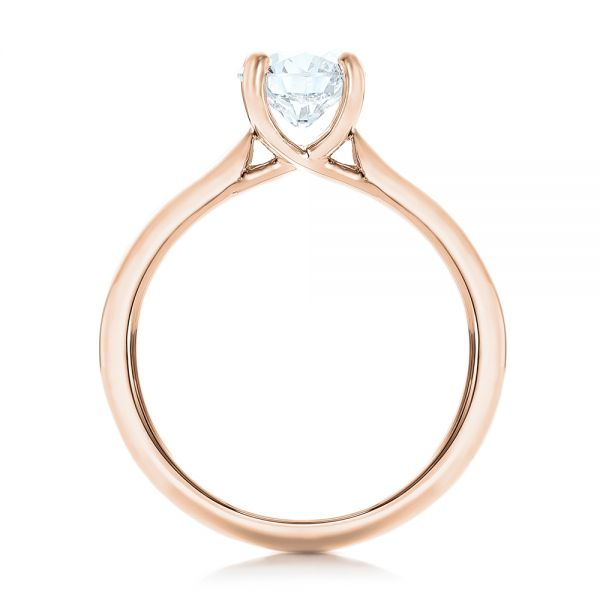 18k Rose Gold 18k Rose Gold Custom Solitaire Engagement Ring With Tapered Shank - Front View -