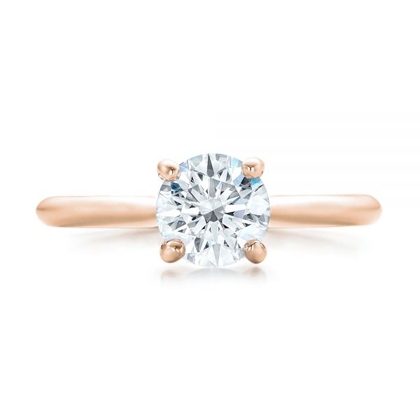 18k Rose Gold 18k Rose Gold Custom Solitaire Engagement Ring With Tapered Shank - Top View -