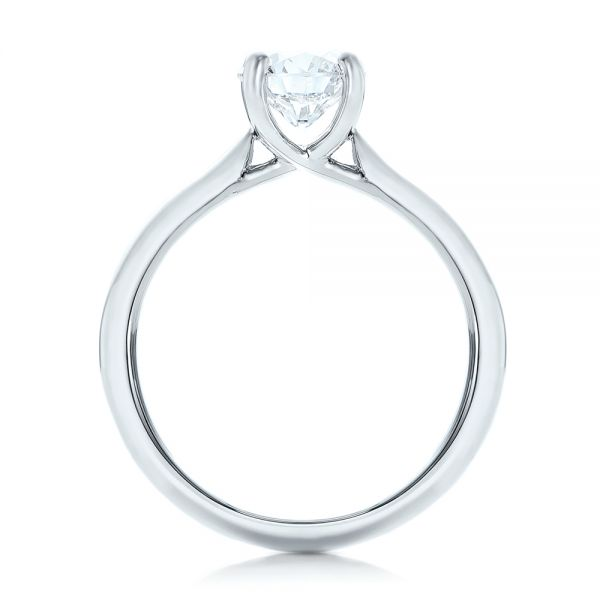 14k White Gold 14k White Gold Custom Solitaire Engagement Ring With Tapered Shank - Front View -