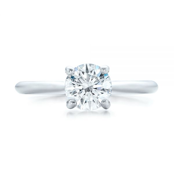 14k White Gold 14k White Gold Custom Solitaire Engagement Ring With Tapered Shank - Top View -