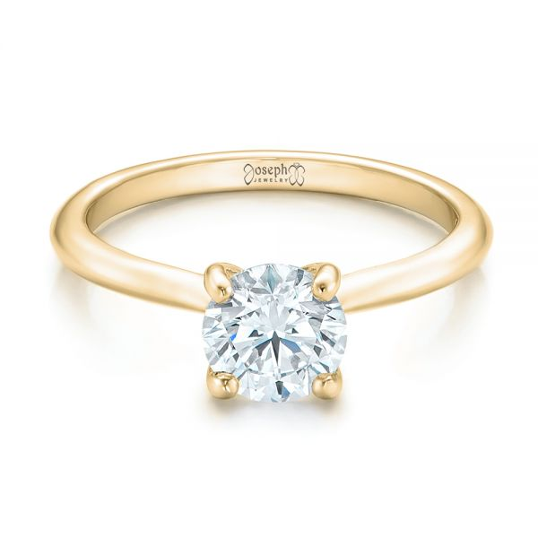 14k Yellow Gold 14k Yellow Gold Custom Solitaire Engagement Ring With Tapered Shank - Flat View -