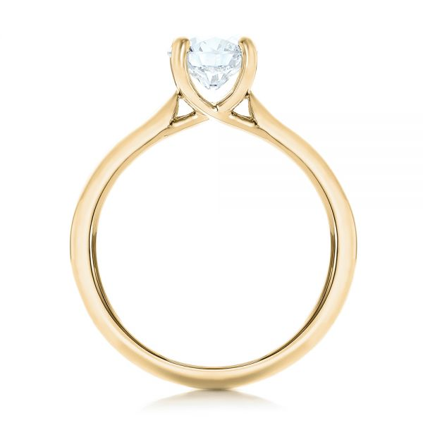 14k Yellow Gold 14k Yellow Gold Custom Solitaire Engagement Ring With Tapered Shank - Front View -