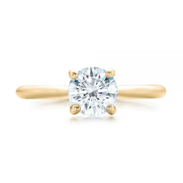 14k Yellow Gold 14k Yellow Gold Custom Solitaire Engagement Ring With Tapered Shank - Top View -
