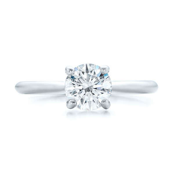 Custom Solitaire Engagement Ring with Tapered Shank - Top View
