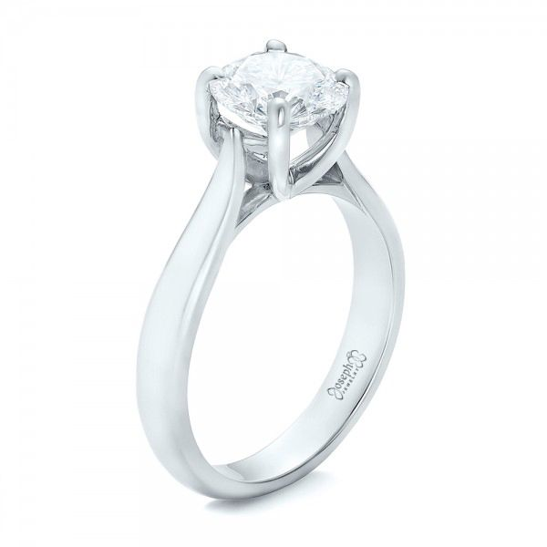 Platinum Custom Solitaire Engagment Ring - Three-Quarter View -