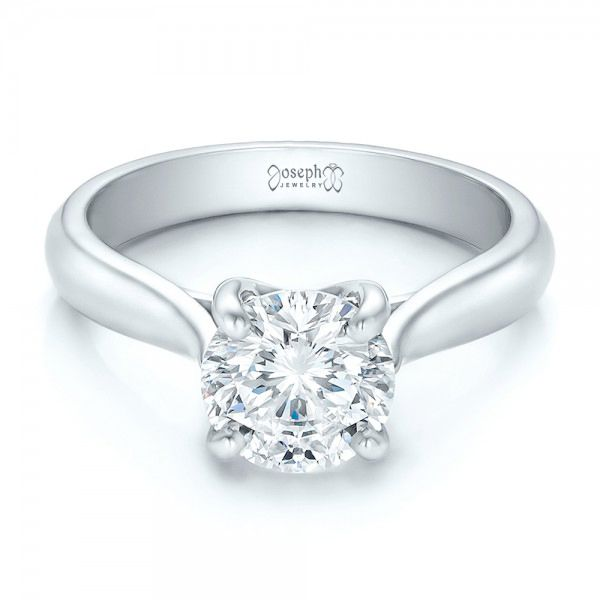 Platinum Custom Solitaire Engagment Ring - Flat View -