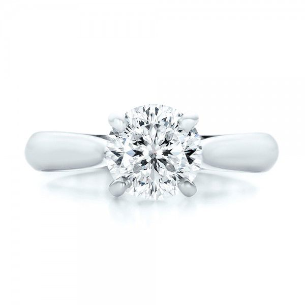 Platinum Custom Solitaire Engagment Ring - Top View -