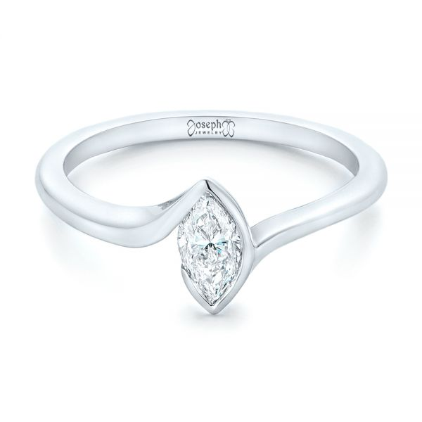 14k White Gold Custom Solitaire Marquise Diamond Engagement Ring - Flat View -