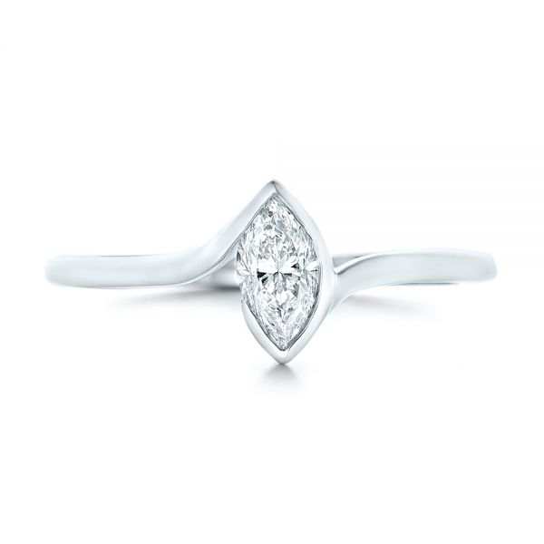 14k White Gold Custom Solitaire Marquise Diamond Engagement Ring - Top View -