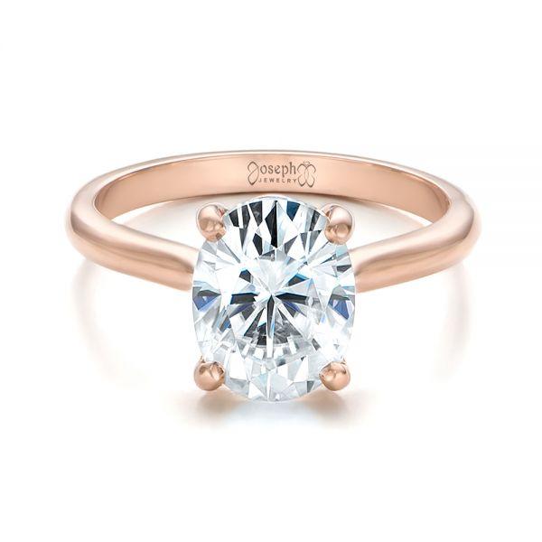 18k Rose Gold Custom Solitaire Moissanite Engagement Ring 102180 Seattle Bellevue Joseph Jewelry