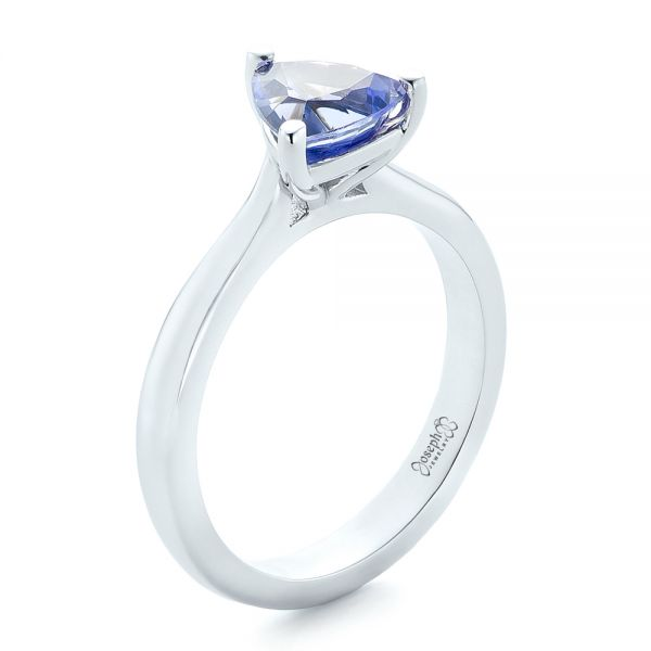 Custom Solitaire Purple Sapphire Engagement Ring - Image