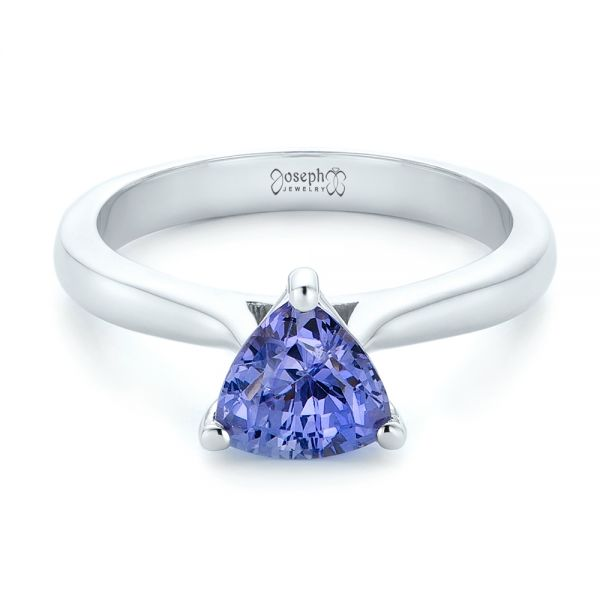 Custom Solitaire Purple Sapphire Engagement Ring - Flat View -  102401 - Thumbnail