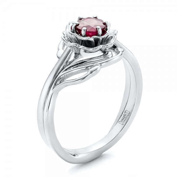 Custom Solitaire Ruby Engagement Ring