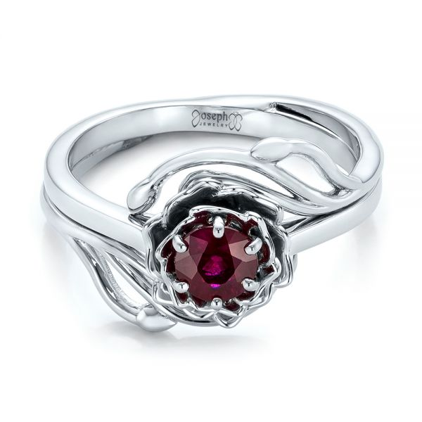 Custom Solitaire Ruby Engagement Ring - Flat View -  102160 - Thumbnail