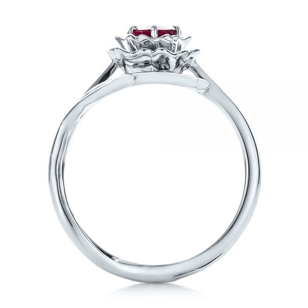 Custom Solitaire Ruby Engagement Ring - Front View -  102160 - Thumbnail