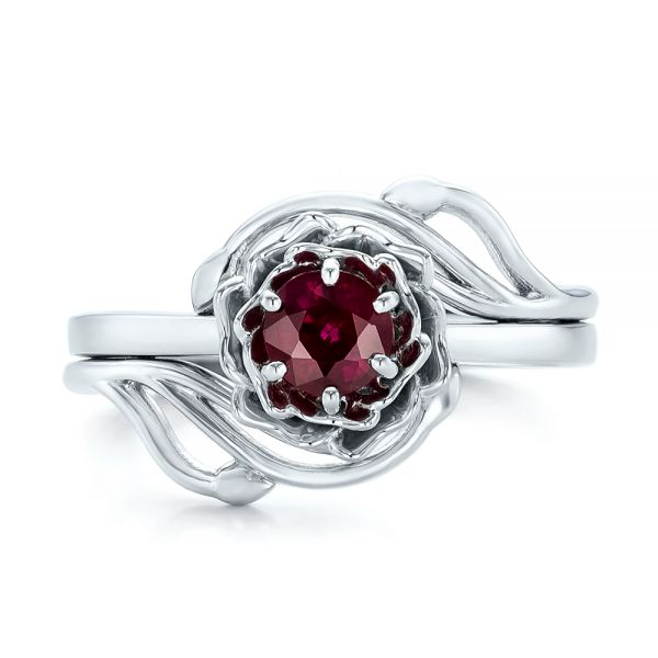 Custom Solitaire Ruby Engagement Ring - Top View -  102160 - Thumbnail