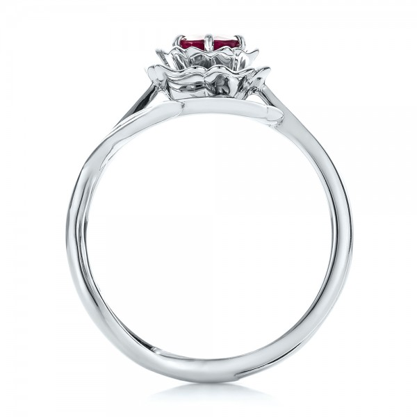 Custom Solitaire Ruby Engagement Ring - Finger Through View