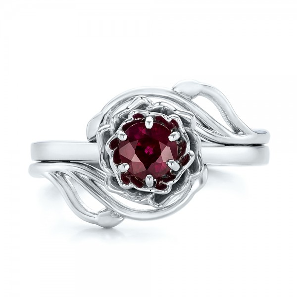 Custom Solitaire Ruby Engagement Ring - Top View