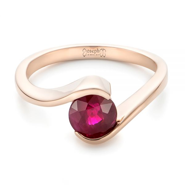 18k Rose Gold Custom Solitaire Ruby Engagement Ring - Flat View -  102347