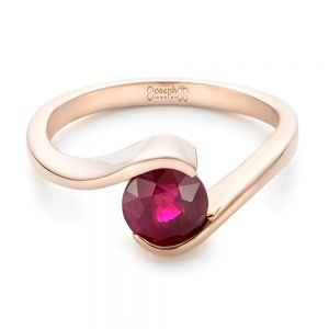 Custom Solitaire Ruby and Rose Gold Engagement Ring