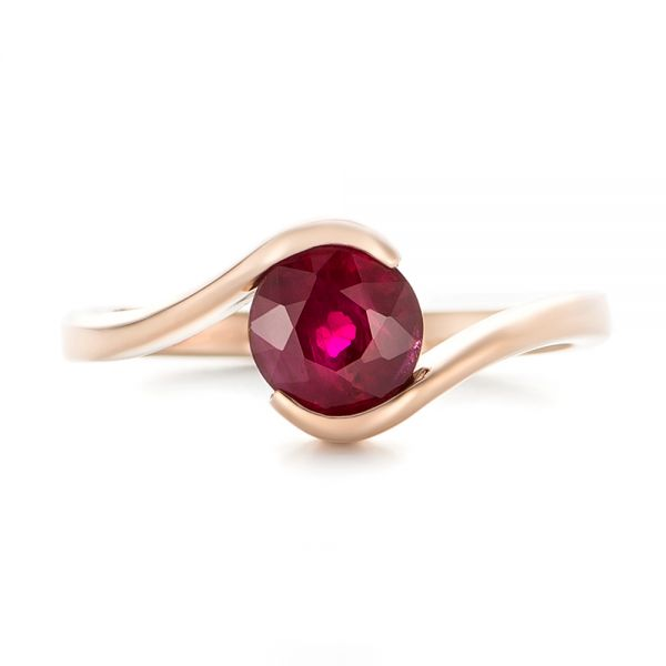 18k Rose Gold Custom Solitaire Ruby Engagement Ring - Top View -  102347