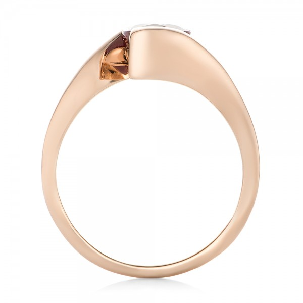 Custom Solitaire Ruby and Rose Gold Engagement Ring - Finger Through View