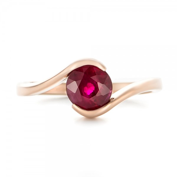 Custom Solitaire Ruby and Rose Gold Engagement Ring - Top View