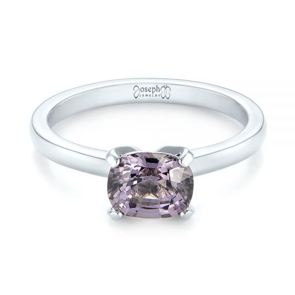 Platinum Custom Solitaire Spinel Gemstone Engagement Ring - Flat View -  104660