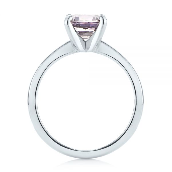 Platinum Custom Solitaire Spinel Gemstone Engagement Ring - Front View -  104660