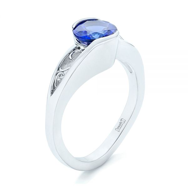 14k White Gold Custom Solitaire Tanzanite Engagement Ring - Three-Quarter View -