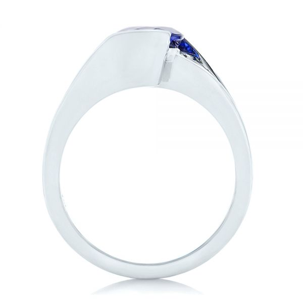 14k White Gold Custom Solitaire Tanzanite Engagement Ring - Front View -
