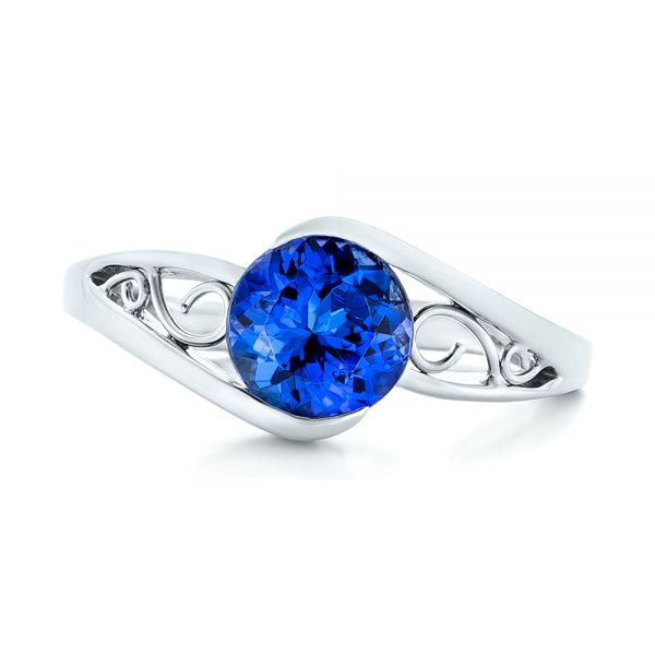 14k White Gold Custom Solitaire Tanzanite Engagement Ring - Top View -