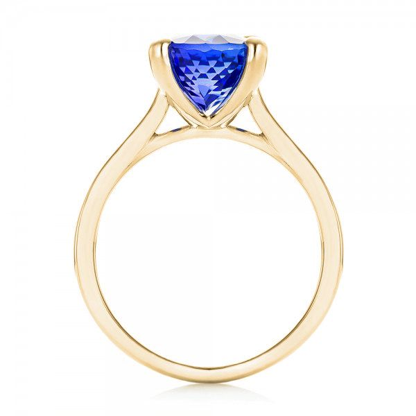 14k Yellow Gold 14k Yellow Gold Custom Solitaire Tanzanite Engagement Ring - Front View -  103031
