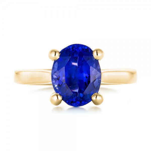 14k Yellow Gold 14k Yellow Gold Custom Solitaire Tanzanite Engagement Ring - Top View -  103031