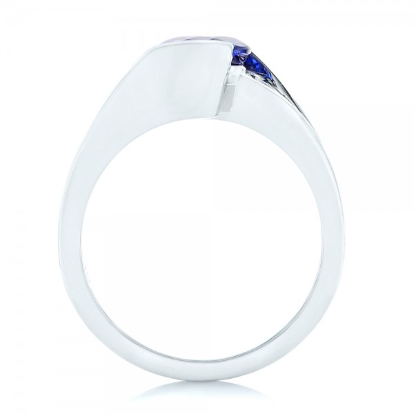 Custom Solitaire Tanzanite Engagement Ring - Finger Through View