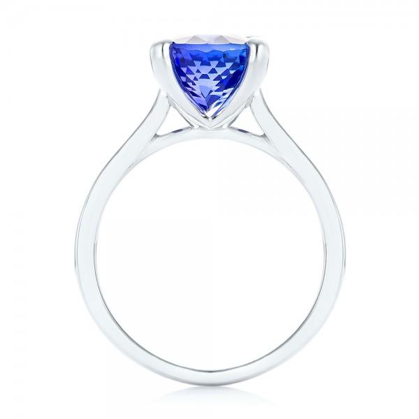 Custom Solitaire Tanzanite Engagement Ring - Finger Through View