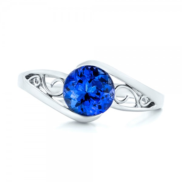 Custom Solitaire Tanzanite Engagement Ring - Top View