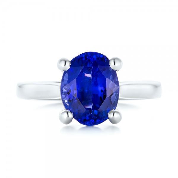 Custom Solitaire Tanzanite Engagement Ring - Top View