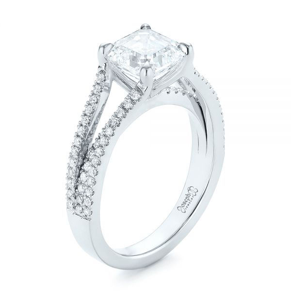 Custom Split Shank Asscher Diamond Engagement Ring - Image