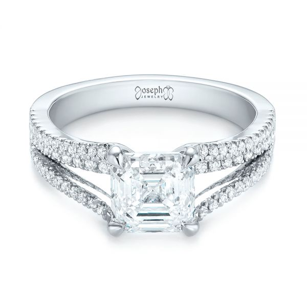Custom Split Shank Asscher Diamond Engagement Ring - Flat View -  104582 - Thumbnail