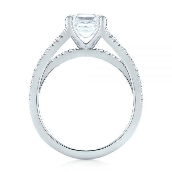 Custom Split Shank Asscher Diamond Engagement Ring - Front View -  104582 - Thumbnail