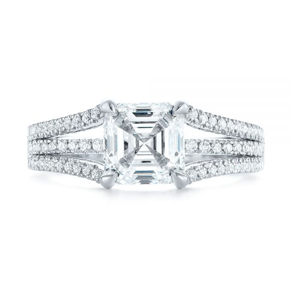 Custom Split Shank Asscher Diamond Engagement Ring - Top View -  104582 - Thumbnail