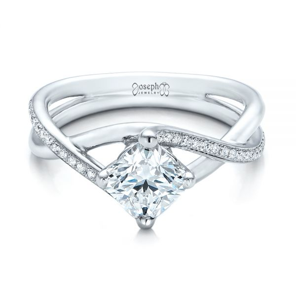 Platinum Custom Split Shank Diamond Engagement Ring - Flat View -