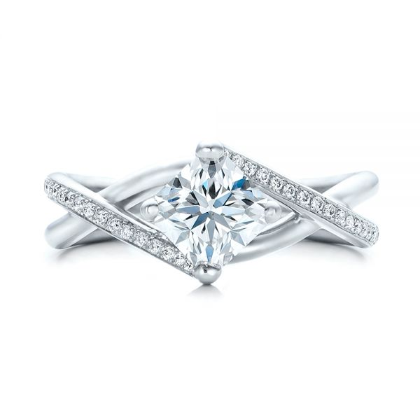 Platinum Custom Split Shank Diamond Engagement Ring - Top View -